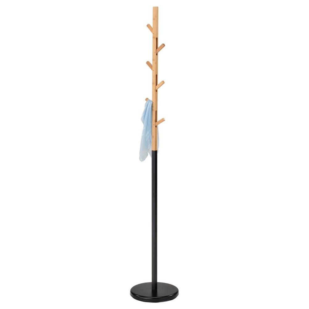 Idimex Porte-manteau AVIGNON portant à vêtements sur pied en forme d'arbre avec 6 crochets rétractables, en métal laqué noir et