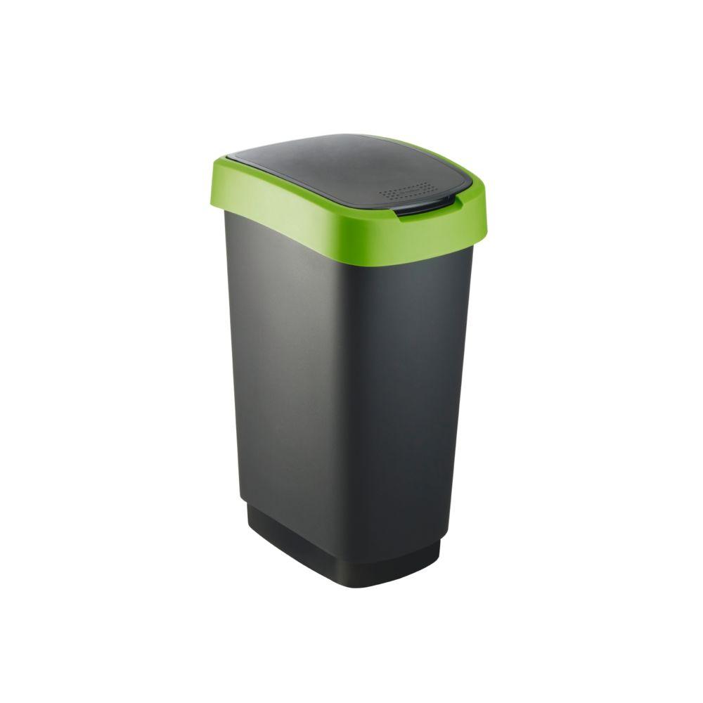 Rotho Poubelle avec couvercle pivotant Rotho Twist 50L noir / vert