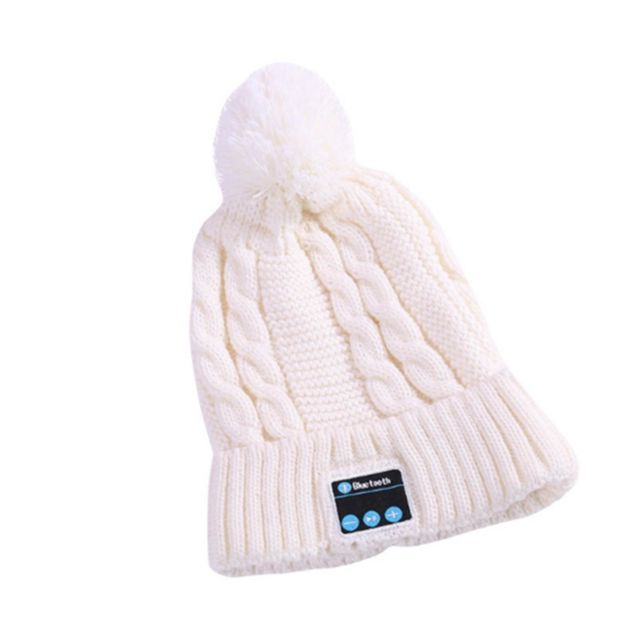 marque generique - YP Select Bluetooth Beanie Ball Knit Cap Casque sans fil Appelez Music Stereo Bluetooth Hat Music Headset Knit Cap-Blanc - Ecouteurs intra-auriculaires
