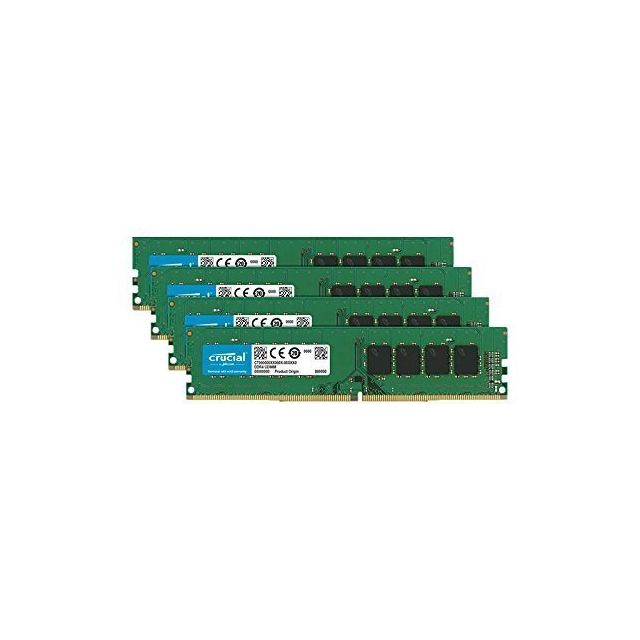 Crucial - Crucial DDR4 64GB 2666MHz Kit x4 PC4-21300 CL19 DR x8 Unbuffered DIMM 288pin (CT4K16G4DFD8266) - RAM PC