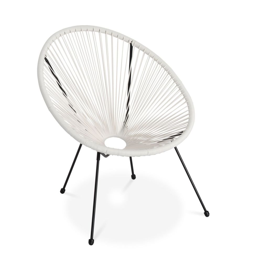 Alice'S Garden Fauteuil ACAPULCO forme d'oeuf - Blanc - Fauteuil 4 pieds design rétro, cordage plastique, intérieur / extérieur
