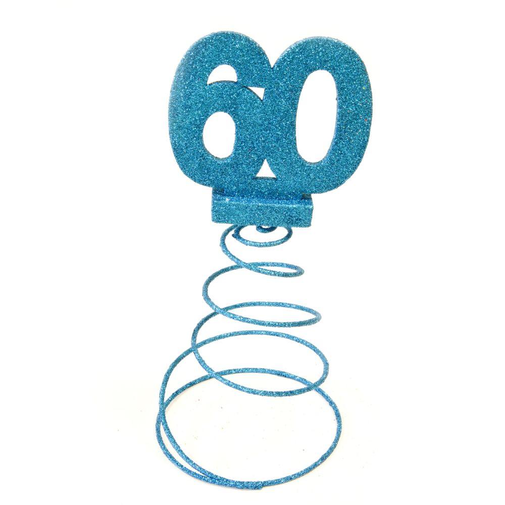 Visiodirect Lot de 10 Centres de table pour anniversaire 60 ans - turquoise pailletée
