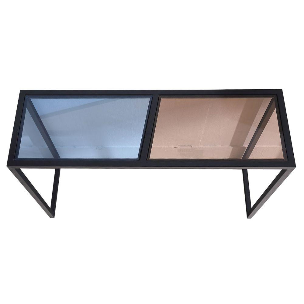 La Maison Du Canapé Console verre ESPRIT - Marron / Bleu - Noir