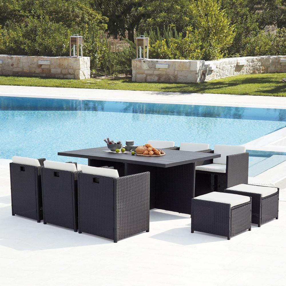 Concept Usine Sunset 10 : salon de jardin encastrable 10 places en résine tressée et aluminium noir/blanc