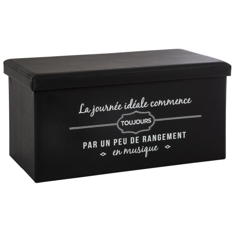 Atmosphera, Createur D'Interie Banquette coffre pliable journée Louis - L. 76 x H. 37 cm - Noir