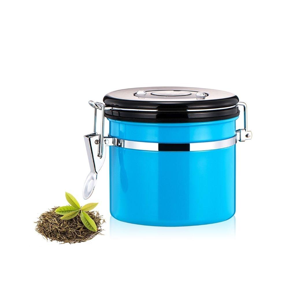 Wewoo 1200ml en acier inoxydable scellé café et bleu aliments motifs conteneur de stockage de haricots avec intégré CO2 soupap
