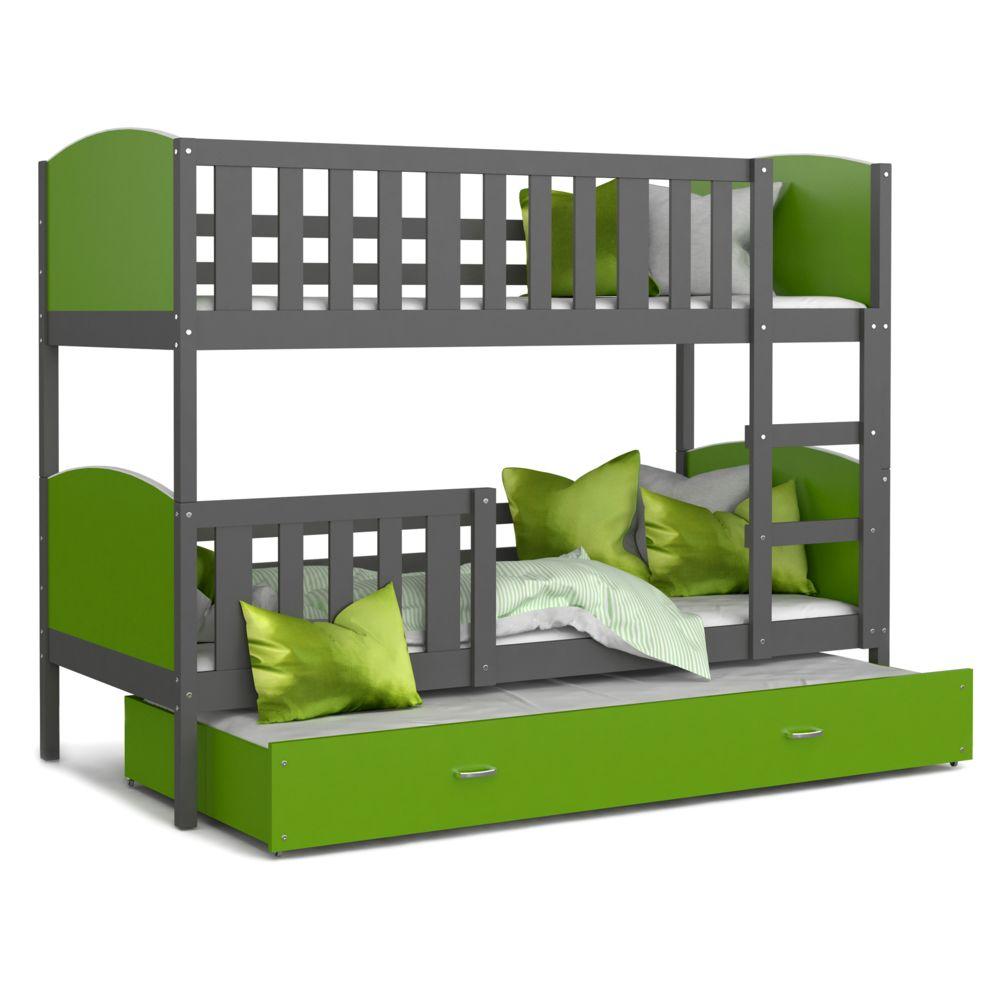 Kids Literie Lit superpose 3 places Tomy 90x190 gris vert livré avec tiroir,3 sommiers et 3 matelas en mousse de 7cm offerts