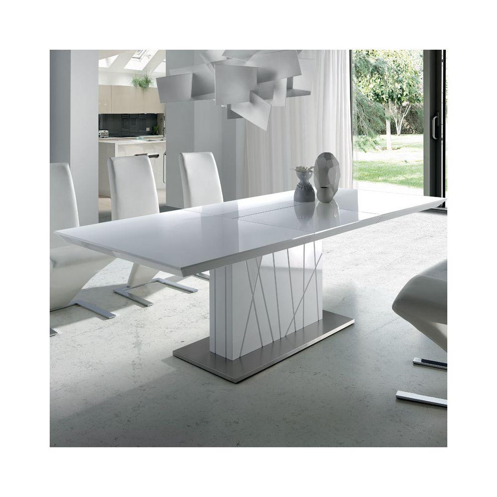 Nouvomeuble Table à manger extensible blanc laqué design ELODIE