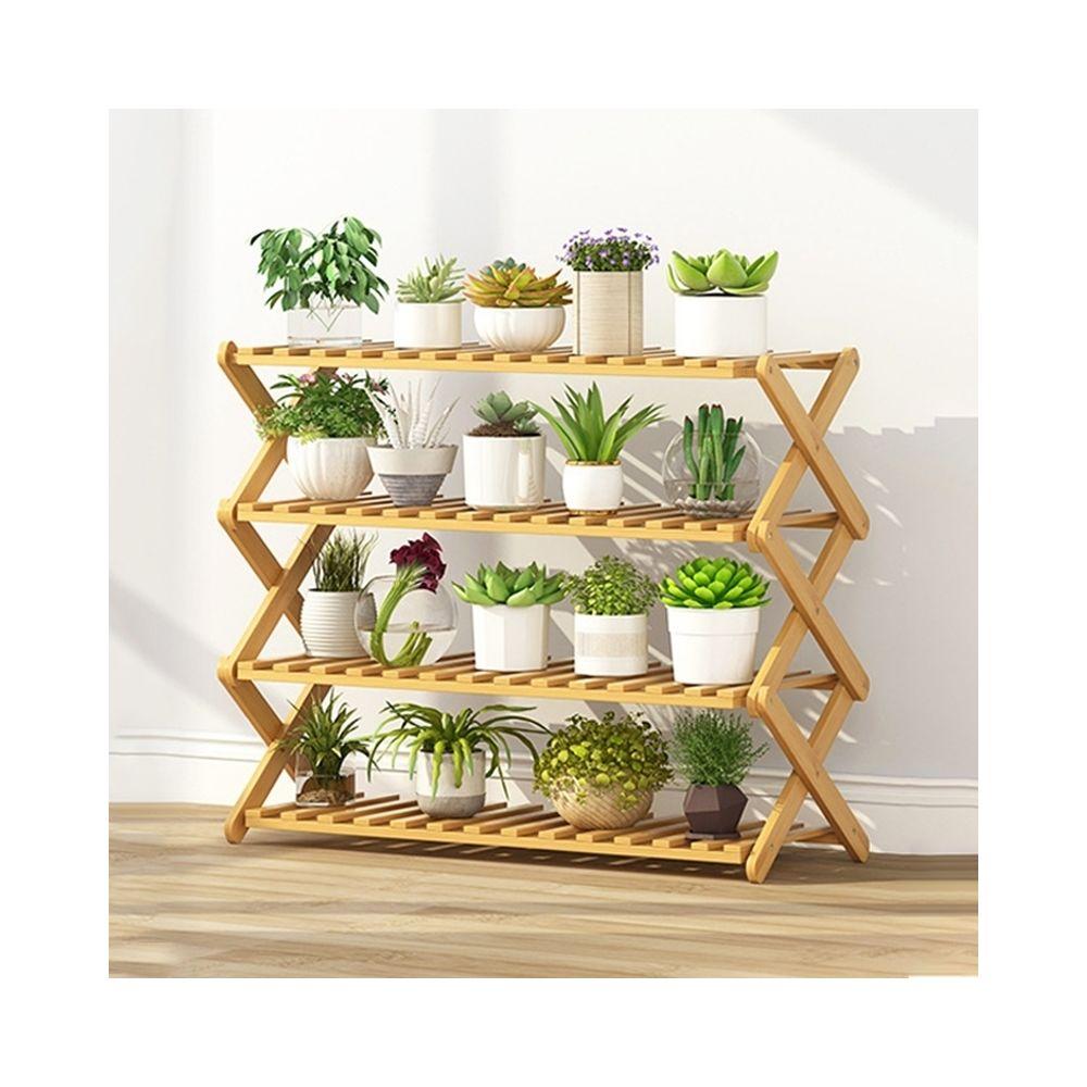 Wewoo Salon de balcon à 4 couchessupport de fleurs pliant en bois massifétagères de plantation potlongueur 80 cm