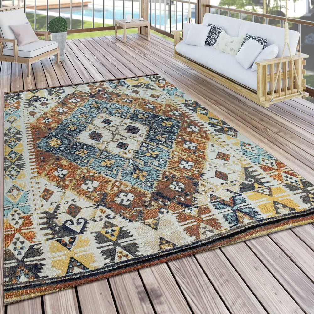 Paco-Home Tapis Intérieur & Extérieur Balcon Et Terrasse Motif Oriental Carreaux Coloré