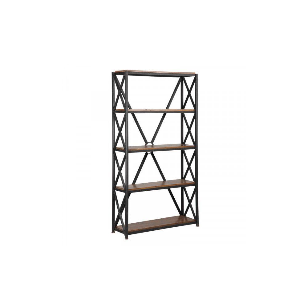 Dansmamaison Étagère 5 niveaux Métal/Bois - BRAC - L 90 x l 45 x H 180 cm
