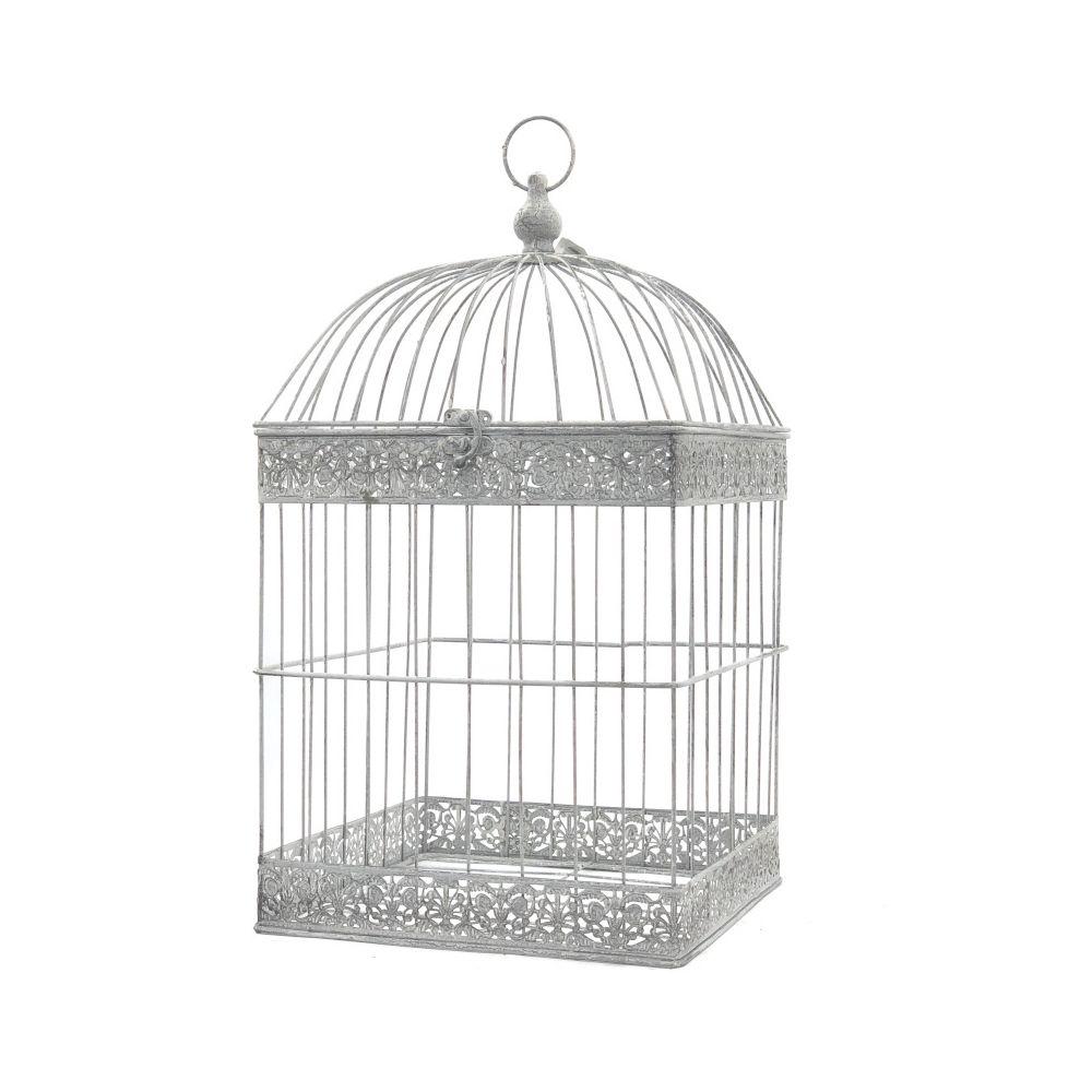L'Originale Deco Grande Cage Oiseaux Bougie Carré Gris 62 cm x 34 cm x 34 cm