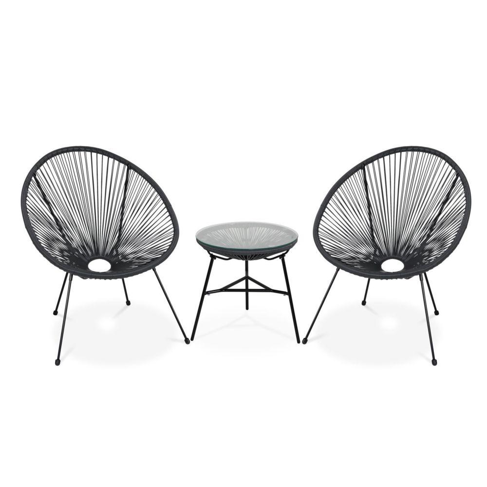 Alice'S Garden Lot de 2 fauteuils ACAPULCO forme d'oeuf avec table d'appoint - Gris foncé - Fauteuils design rétro