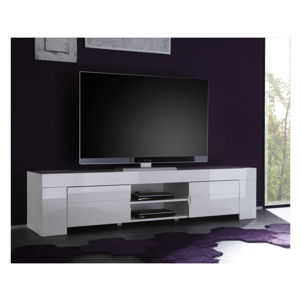 Subleem SUBLEEM Base TV grand avec deux portes Sellero blanc laqué brillant