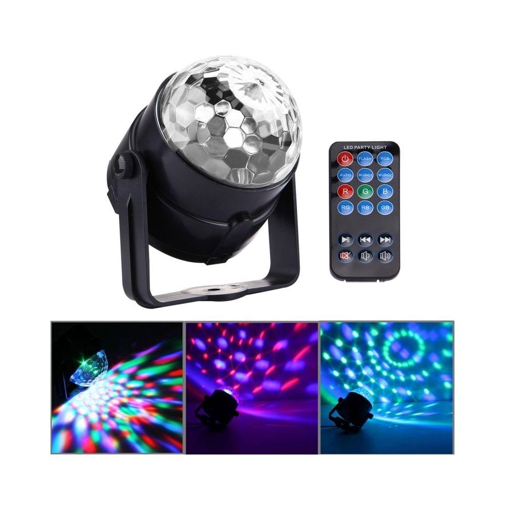 Wewoo LED Boule à facette 1W x 3 mini magique tournante d'étape de la avec à télécommande, prise des USA / EU