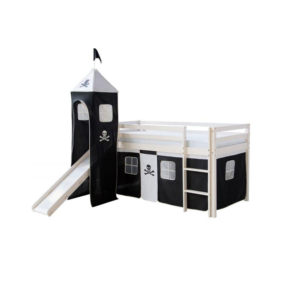 Decoshop26 Lit mezzanine 90x200cm avec échelle toboggan en bois blanc et toile noir pirate incluse LIT06154