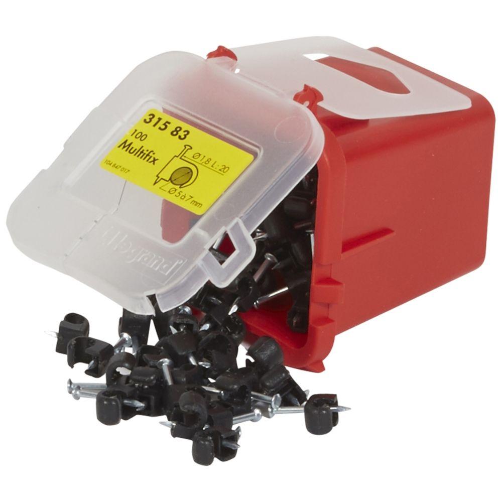 Legrand attache pontet - legrand multifix - pour câble rond - 5 à 7 mm - noir