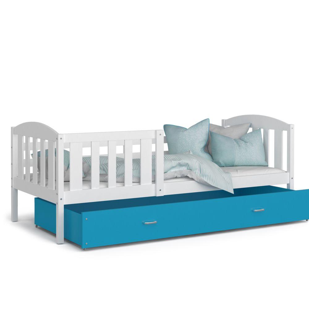 Kids Literie Lit enfant Téo 90x190 blanc bleu livré avec tiroir, sommier et matelas en mousse de 7cm offert