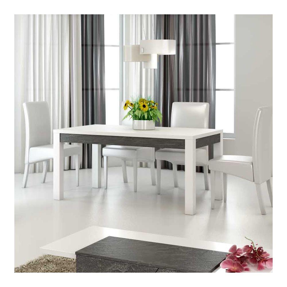 Nouvomeuble Table à manger 190 cm design blanc laqué LAUREA