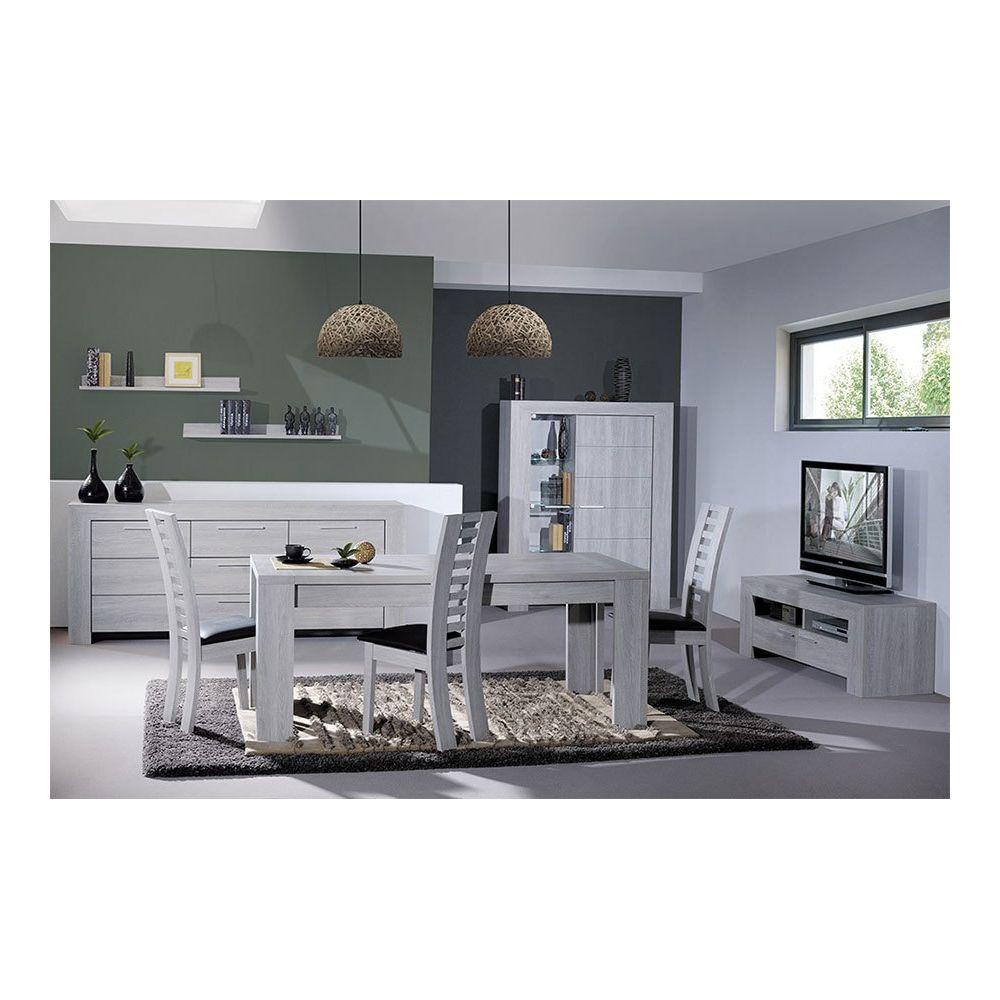 Sofamobili Salle à manger complète couleur chêne gris contemporaine THAILLA avec éclairage