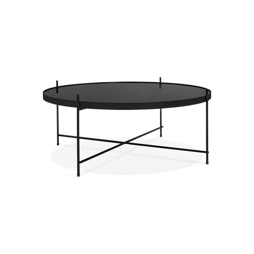 Declikdeco Table Basse Ronde Grande en Verre Noir et Piétement en Métal WALLY
