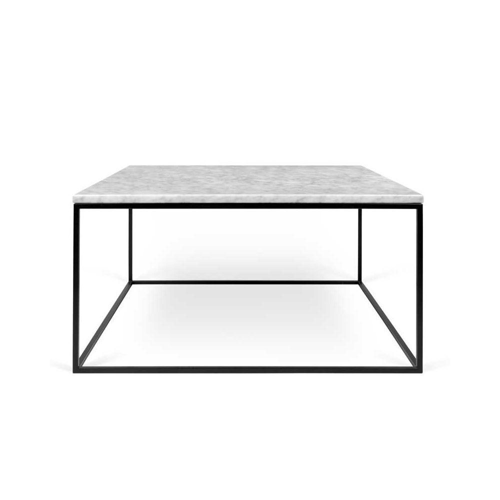 Tousmesmeubles Table basse carrée Métal/Marbre blanc - BANGBE