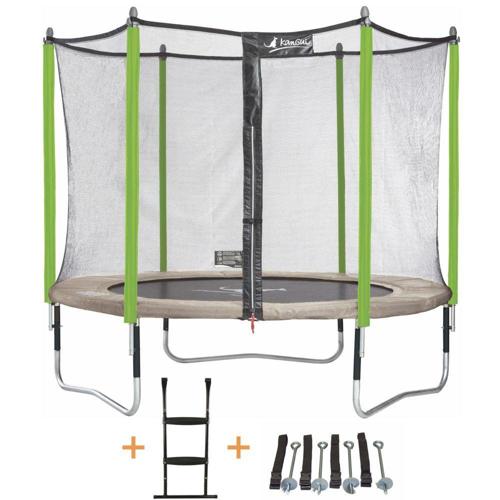 Kangui Kangui - Trampoline de jardin 305 cm + filet de sécurité + échelle + kit d'ancrage JUMPI Taupe/Vert 300