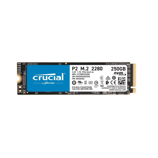 Crucial - P2 3D NAND - 250 Go - M.2 Nvme PCIe - SSD Interne Ssd interne