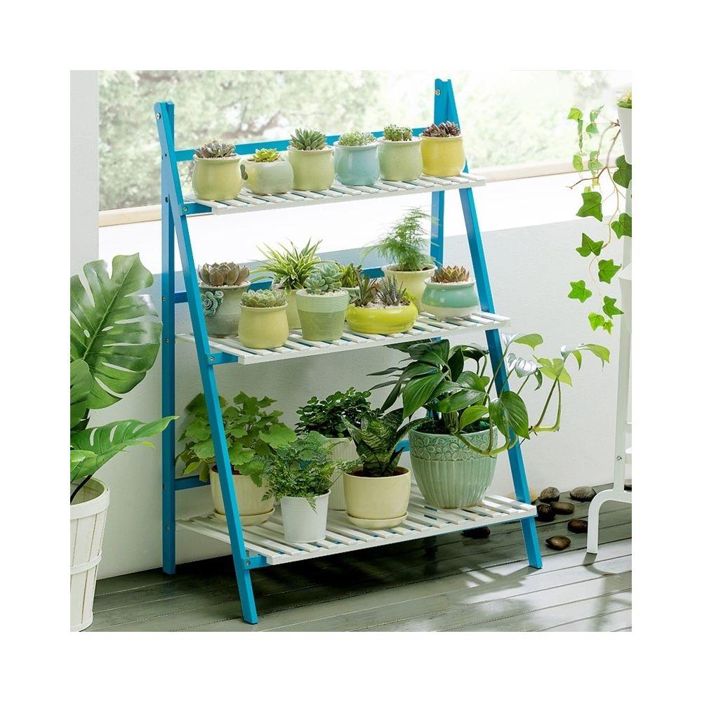 Wewoo Support à plante suspendue en bambou à 3 niveaux pour bacs à fleurs à étagère plantes à étagèreslargeur 70 cm Bleu