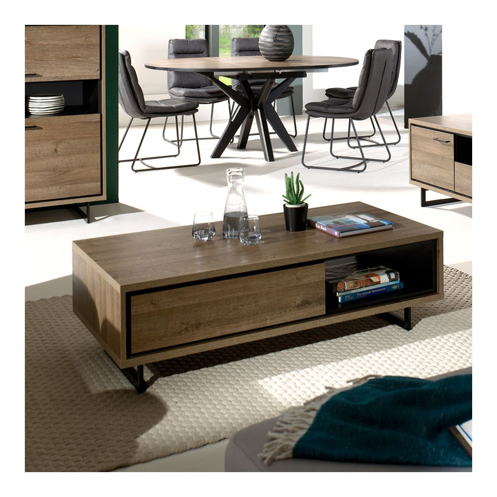 Nouvomeuble Table de salon couleur chêne foncé ESTELLE