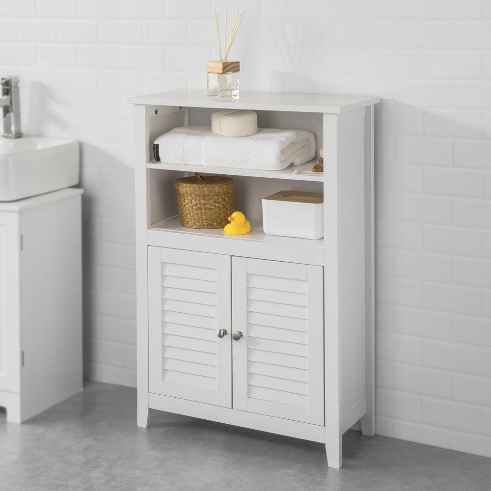 Sobuy SoBuy® BZR13-W Meuble Bas de Salle de Bain Armoire Toilette Buffet Commode de Rangement