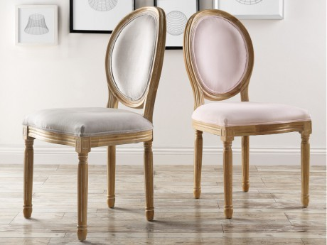 948b21adb9eb66 Marque Generique - Lot de 2 chaises Louis Xvi - Velours - Coloris gris pâle