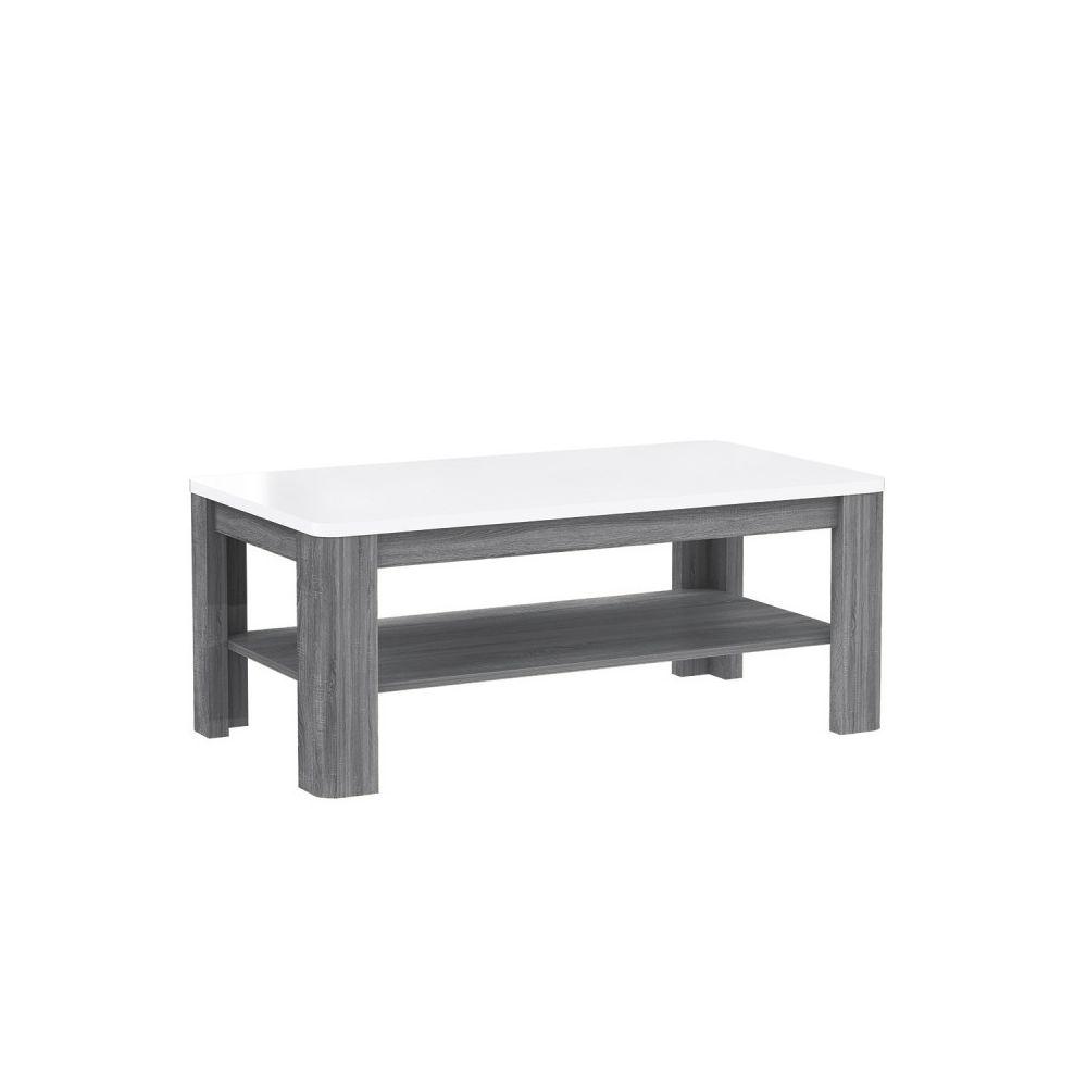 Meubletmoi Table Basse rectangulaire Plateau laqué Blanc et piétement Bois Gris - ALEXIANE