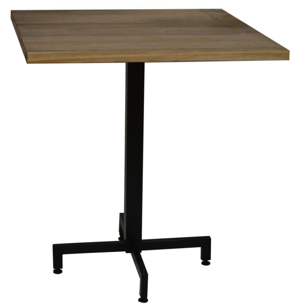 Ds Meubles Table bistrot Icub. De pied central plateau carré - industriel vintage ? 60x60x75h. cm - Metal Noir