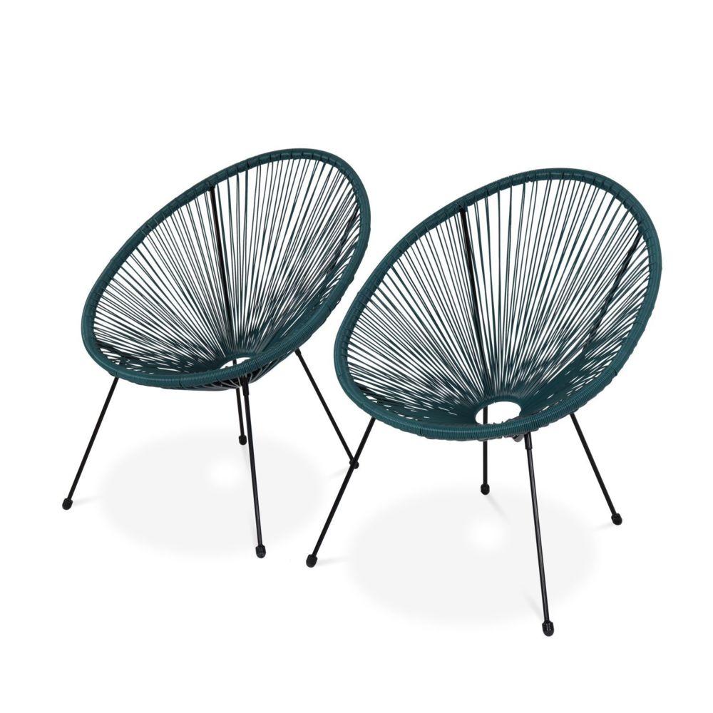 Alice'S Garden Lot de 2 fauteuils design Oeuf - Acapulco bleu canard - Fauteuils 4 pieds design rétro, cordage plastique