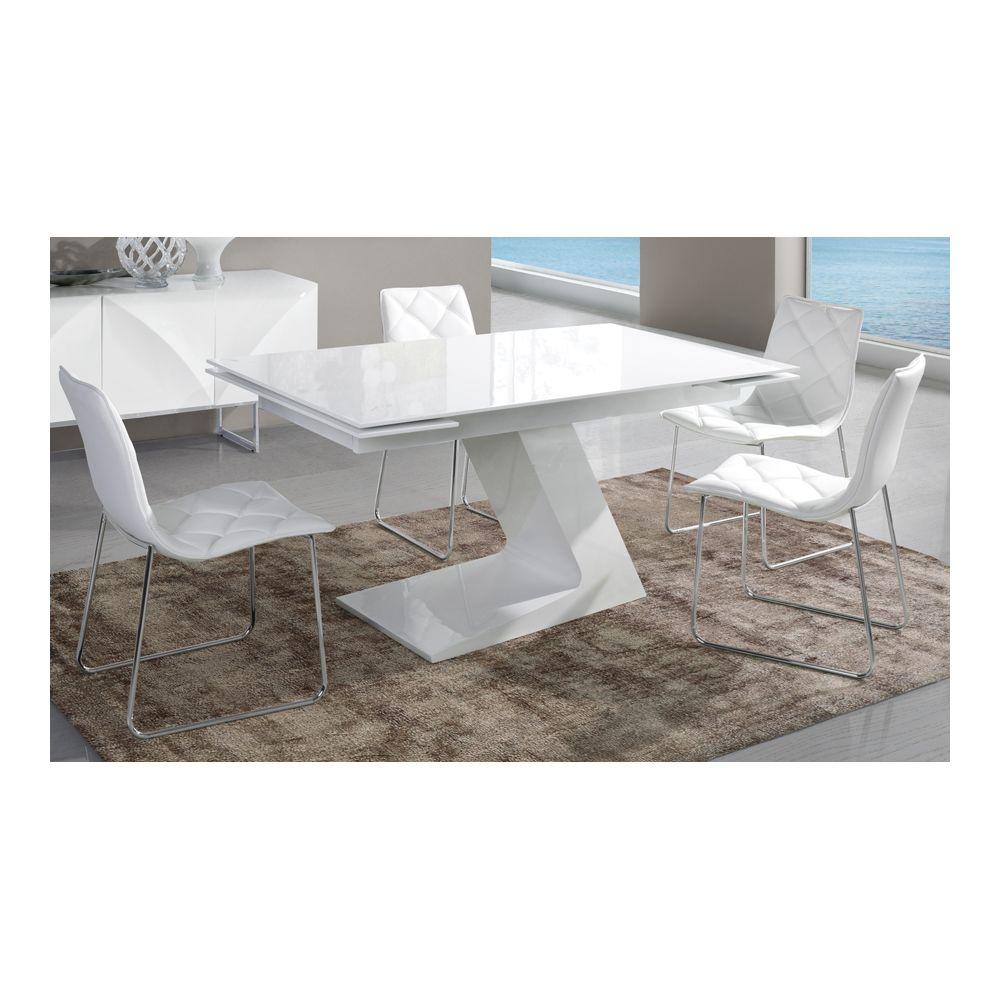 Sofamobili Table de salle à manger extensible blanc laqué design ARTA