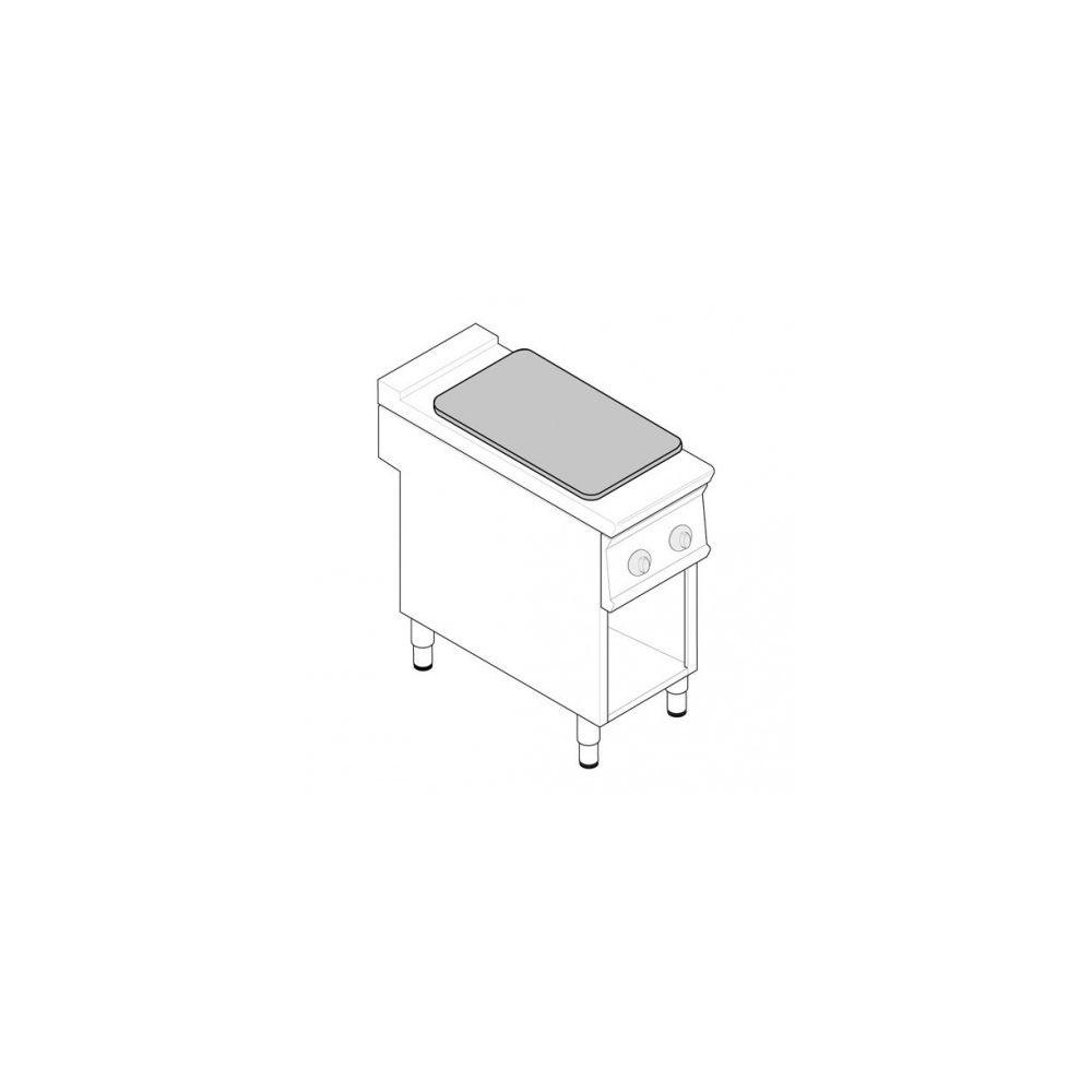 Materiel Chr Pro Fourneau Plaque Coup de Feu sur placard ouvert - 2 plaques - gamme 900 - module 400 - Tecnoinox -