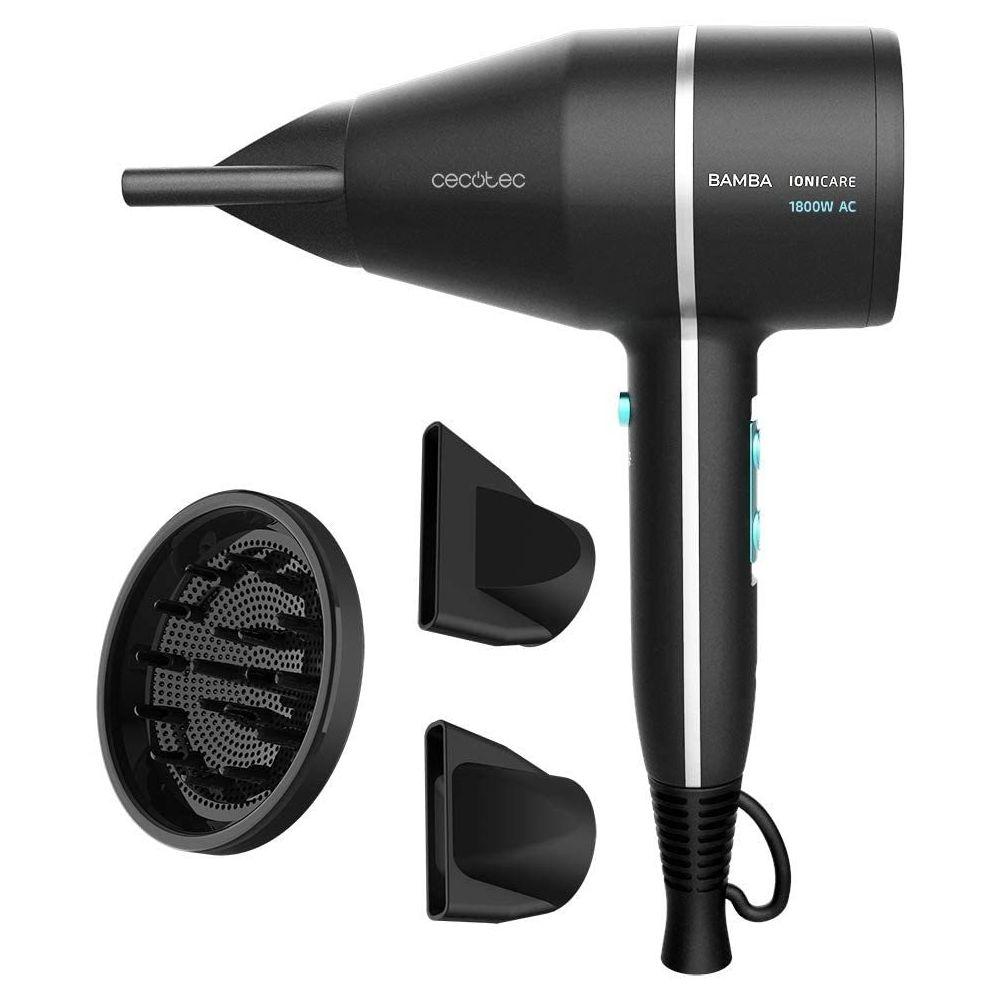 Cecotec sèche cheveux ionique avec diffuseur ion et grand débit d?air 1800W bleu noir gris