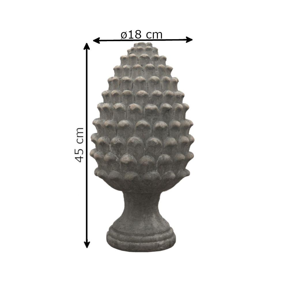 L'Originale Deco Grande Pomme de Pin Epi de Faîtage Obélisque Terre Cuite 45 cm x ø18 cm