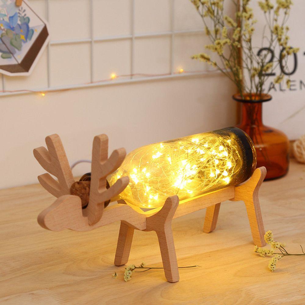 Generic Noël LED Elk bouteille en verre base en bois Illusion Nuit Commutateur Table lumineuse Lampe marron