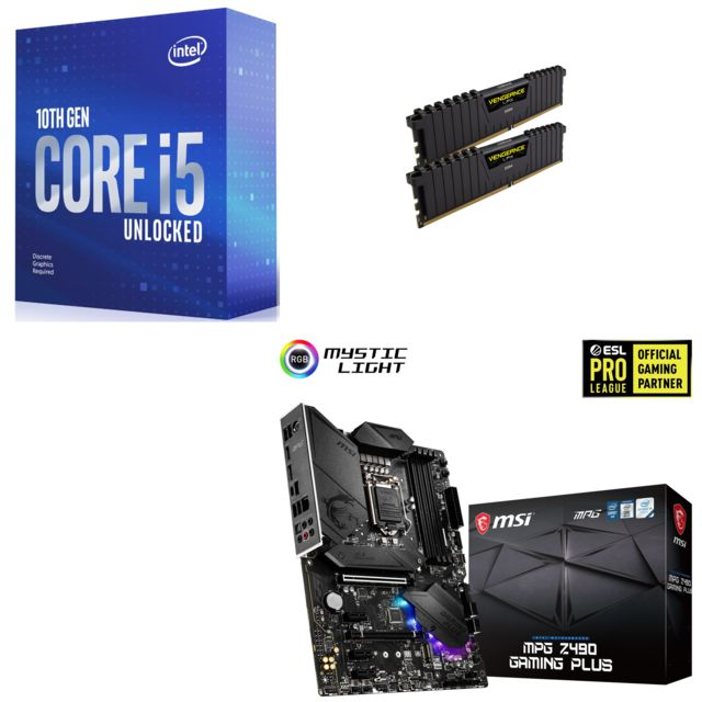 Intel - Core i5-10600K - 4.1/4.8 GHz + Vengeance LPX 16 Go (2 x 8 Go) - DDR4 3200 MHz Cas 16  + INTEL MPG Z490 GAMING PLUS - ATX - Kit d'évolution Intel