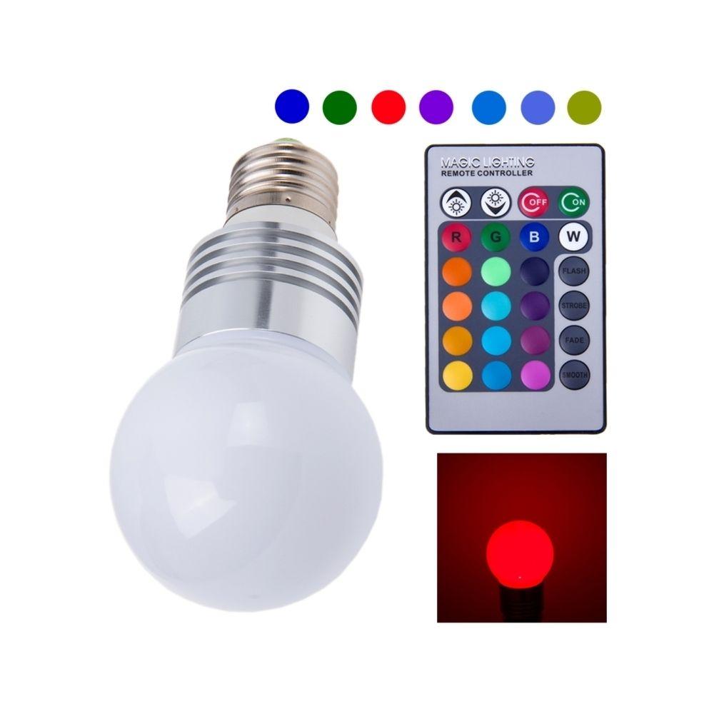 Wewoo Ampoule Lampe LED E27 RGB 1W avec télécommande