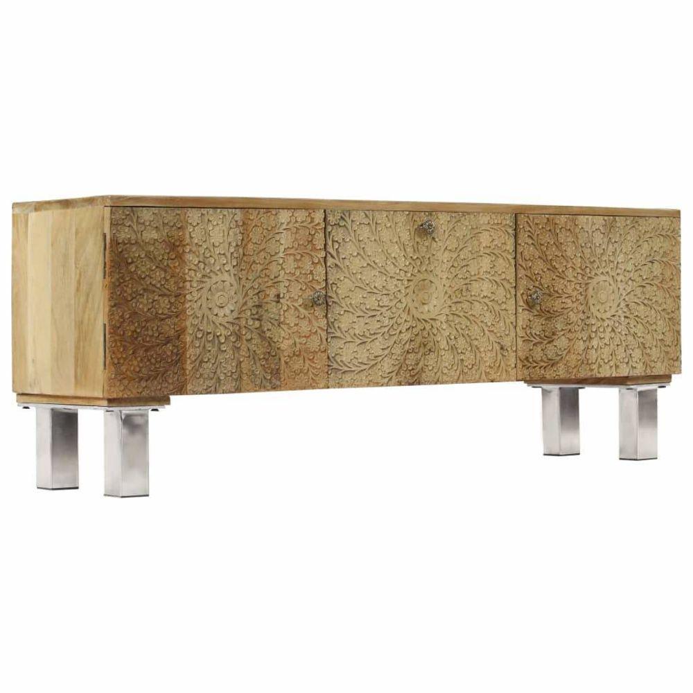 Helloshop26 Meuble télé buffet tv télévision design pratique bois de manguier massif 118 cm 2502135