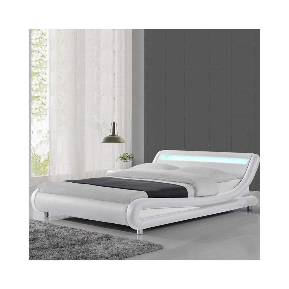 Meubler Design Lit led design Julio - Blanc - 140x190