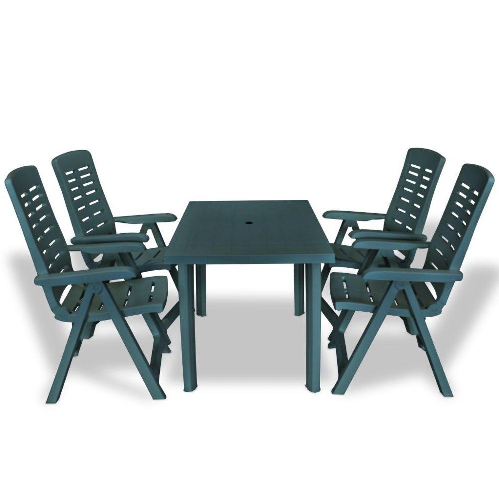 Vidaxl vidaXL Mobilier à dîner d'extérieur 5 pcs Plastique Vert