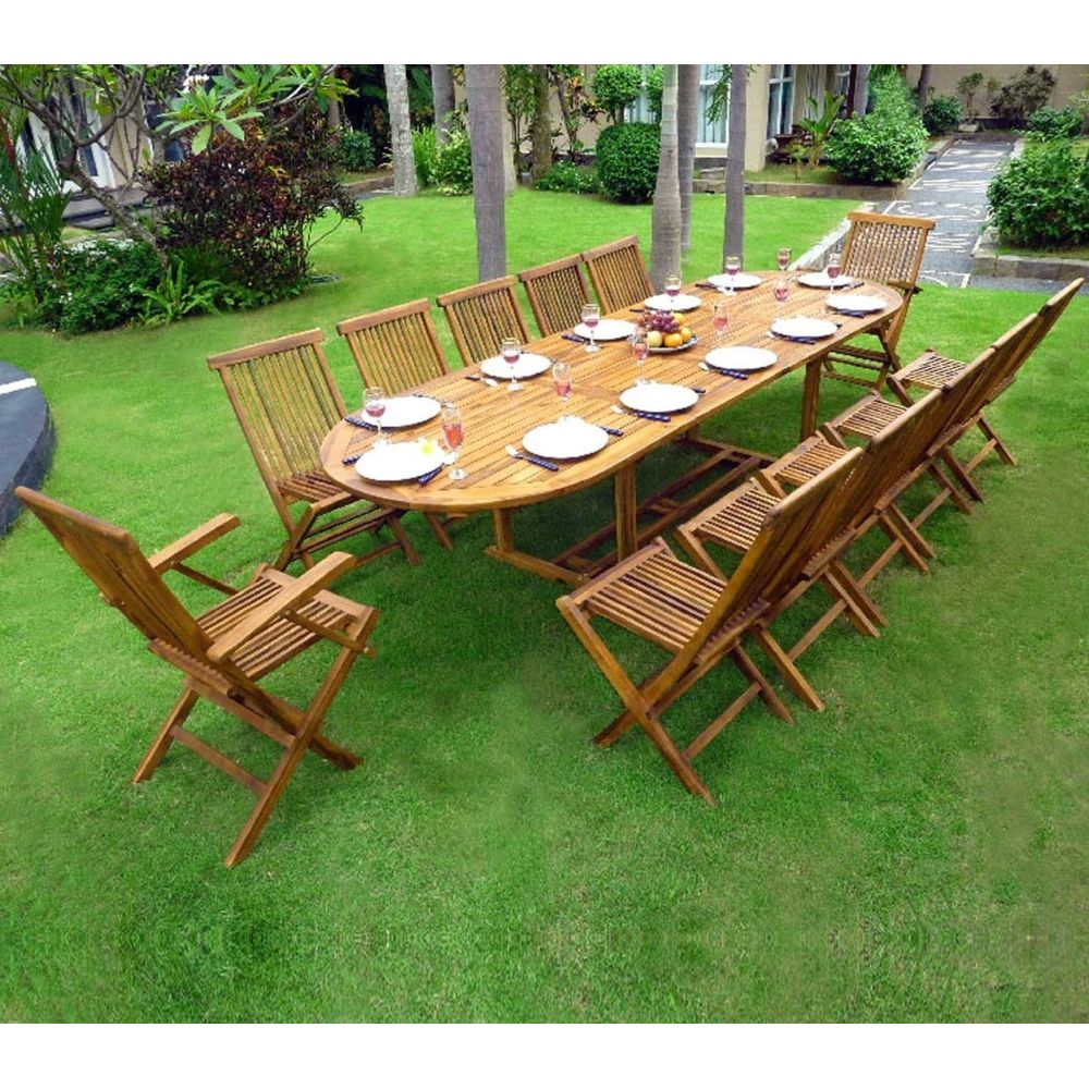 Wood En Stock Salon en teck huilé XXL 12 places - table 200-250-300 cm