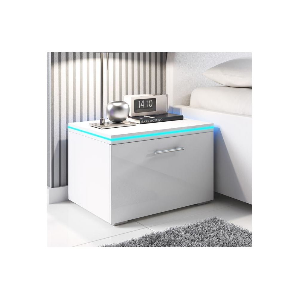 Design Ameublement Table de chevet Victoria blanc avec LED RGB