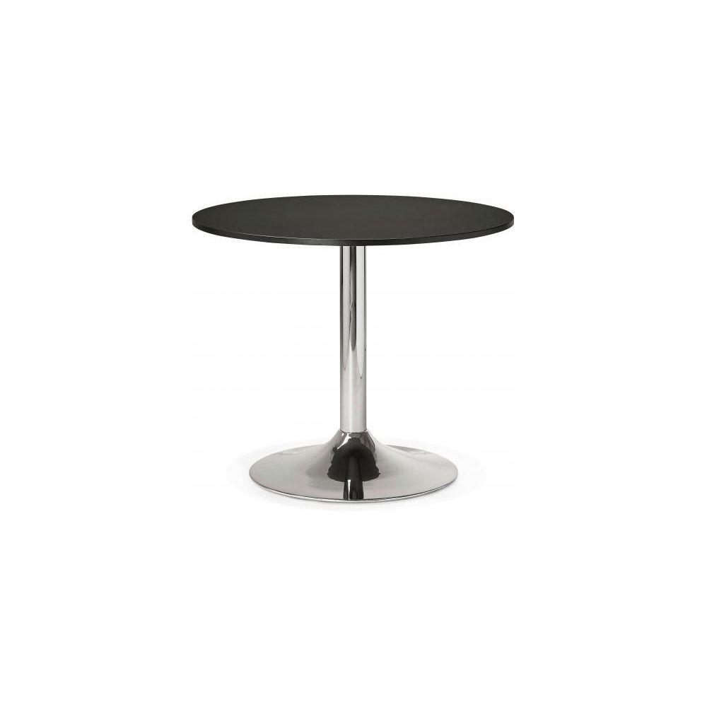Kokoon Design Table Ronde Bois Noire Pied Métal D90 ALBURY
