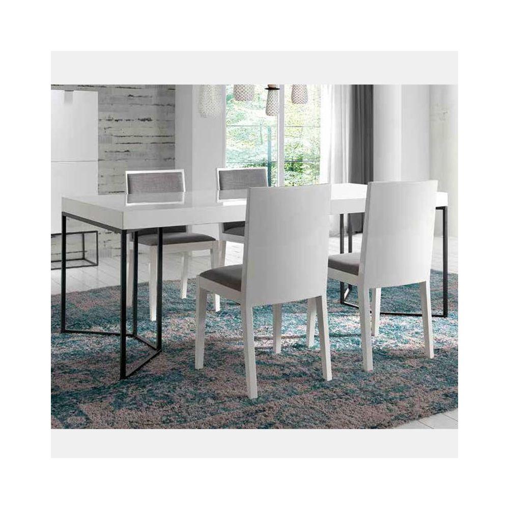 Nouvomeuble Table à manger design blanc laqué EMILIA
