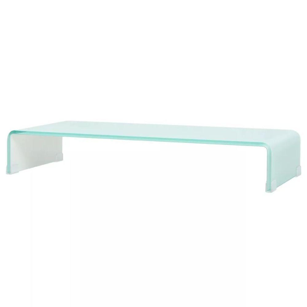 Helloshop26 Meuble télé buffet tv télévision design pratique support pour moniteur 80 cm verre blanc 2502231